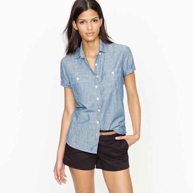 Short-sleeve selvedge chambray shirt