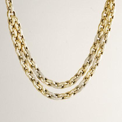 Double-row mini pavé-link necklace