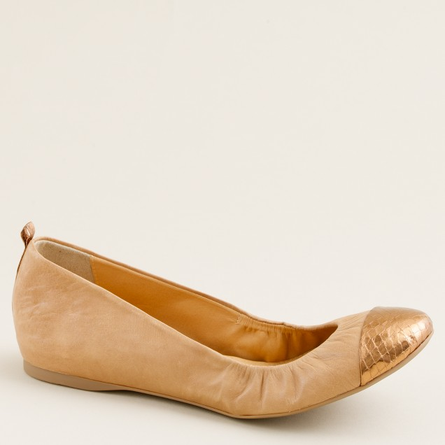 Cece leather and snakeskin ballet flats