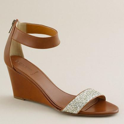 Glitter Wedge Shoes Crushed Glitter Wedges