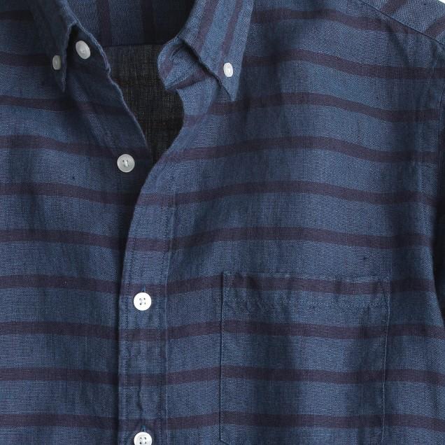 Slim Irish linen shirt in stripe