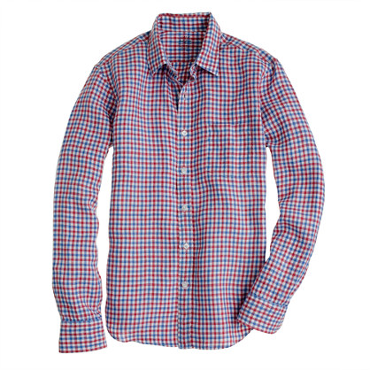 Slim Irish linen shirt in check