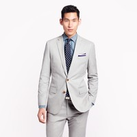 Ludlow suit jacket with double vent in fine-stripe cotton