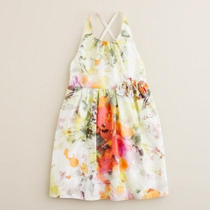 Girls' watercolor crisscross sundress