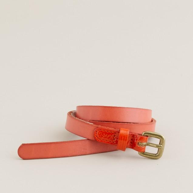 Patent-tab skinny belt