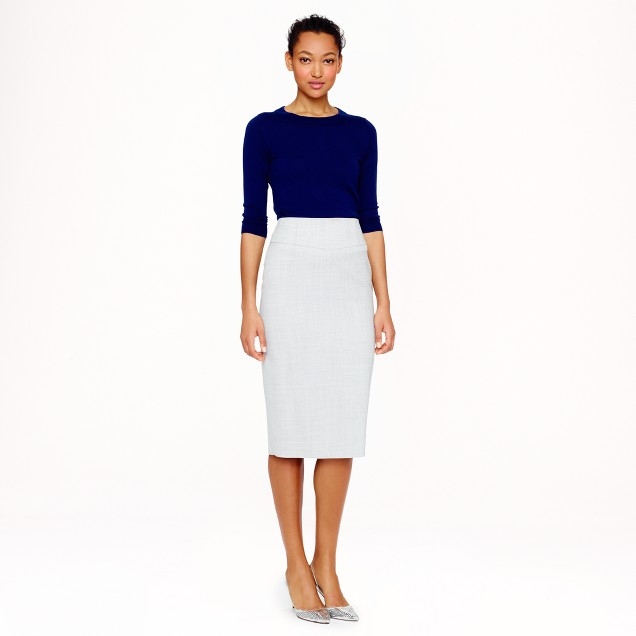 Petite telegraph pencil skirt in Super 120s wool