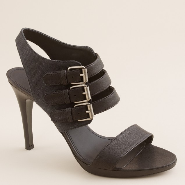 Wyatt buckle heels in leather and canvas