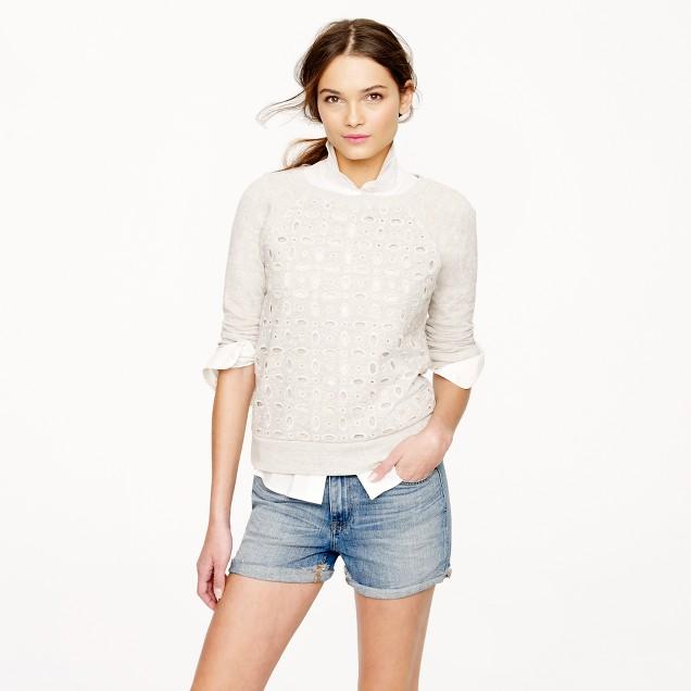Eyelet-front sweatshirt