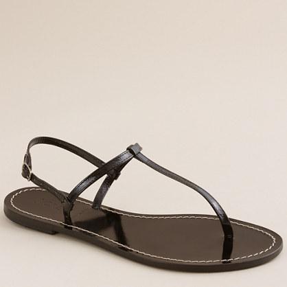 Patent T-strap sandals