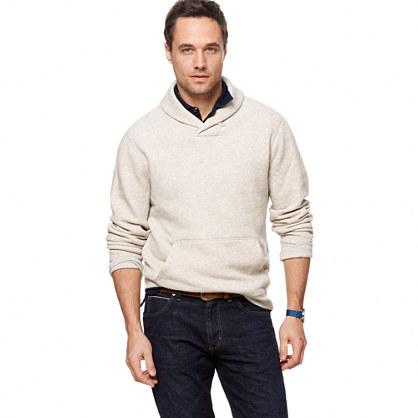 Marled fleece shawl-collar sweatshirt