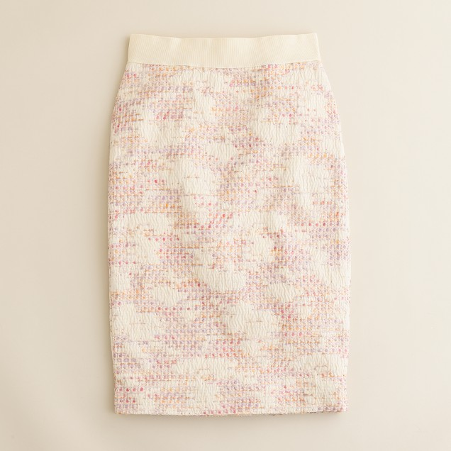 Pastille tweed pencil skirt