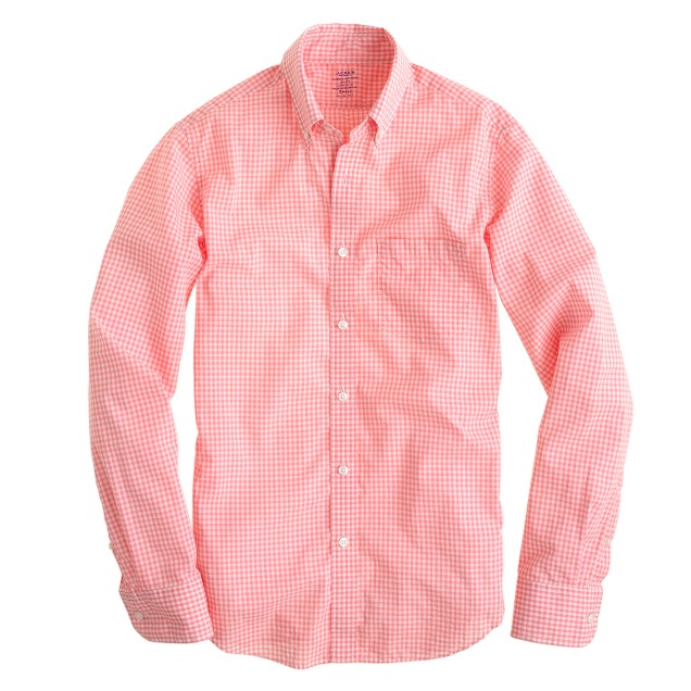 Slim lightweight shirt in flash pink check