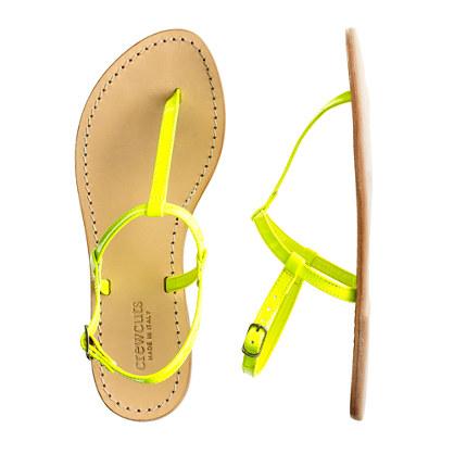 Girls' patent T-strap sandals
