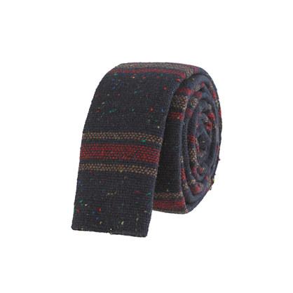 Wide-stripe wool tie in imperial blue