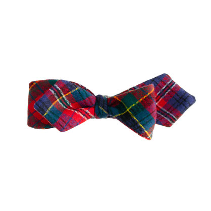 Tartan wool bow tie in red