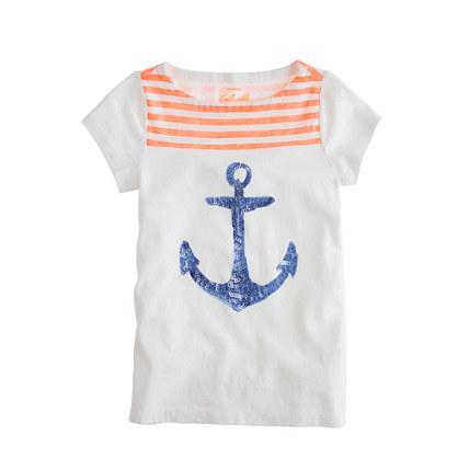 Girls' orange stripe sequin anchor tee