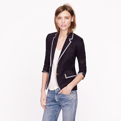 Collection classic schoolboy blazer in tipped linen