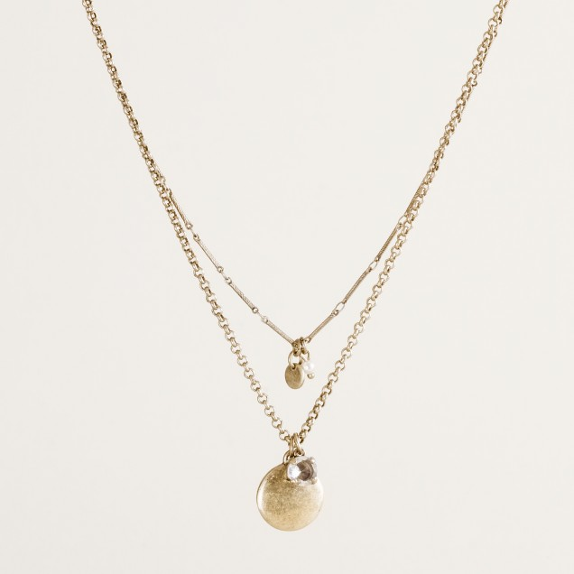 Double-strand charm necklace