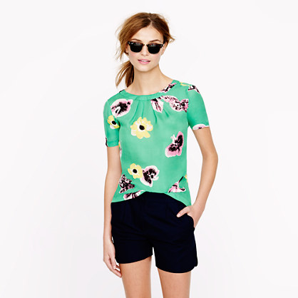 Swoop top in punk floral