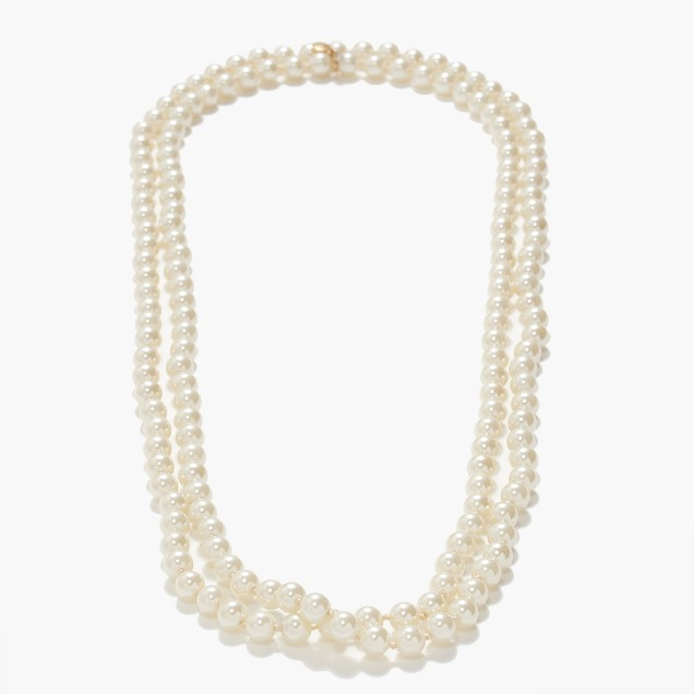 Opera-length glass pearl necklace