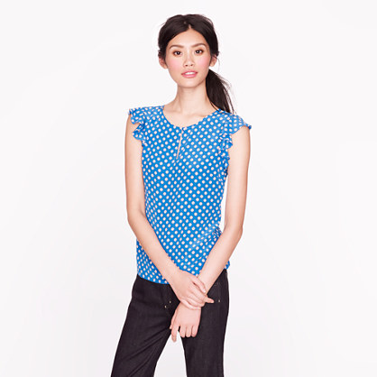 Silk flutter top in geo dot