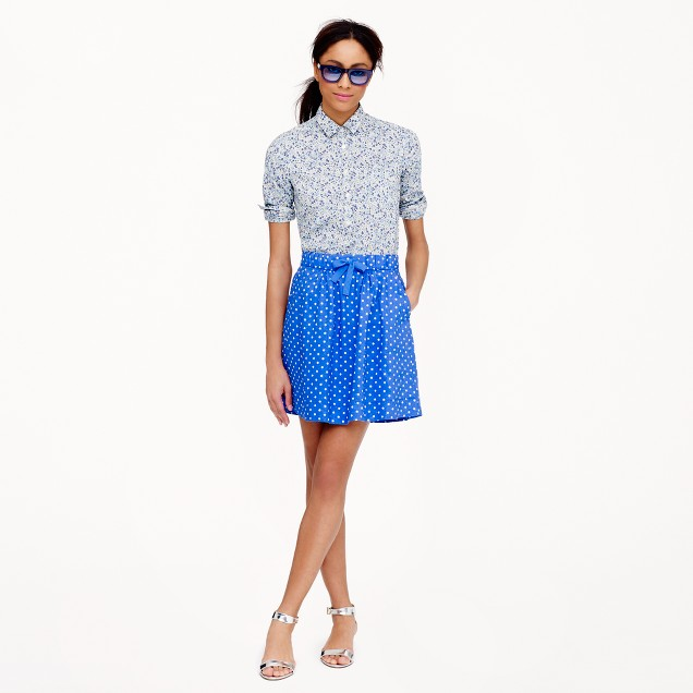 Boardwalk linen skirt in polka dot