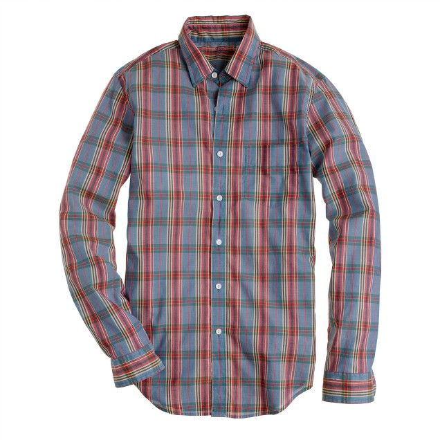 Lightweight chambray shirt in vintage plaid