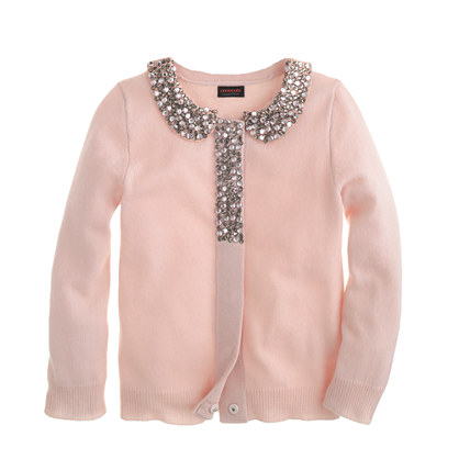 Girls' glitz-collar cashmere cardigan