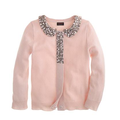Girls' glitz-collar cashmere cardigan