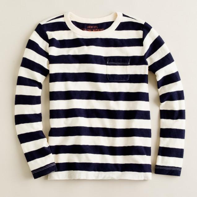 Boys' long-sleeve hide-and-seek stripe pocket tee