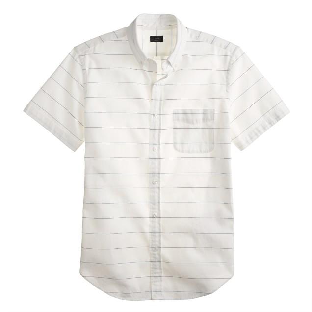 Short-sleeve oxford shirt in fiesta purple stripe