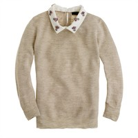 Convertible jewel-collar linen sweater