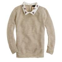 Convertible jewel-collar linen sweater