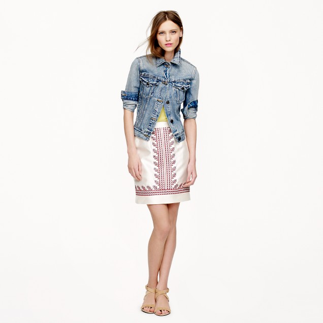 Embroidered silk skirt