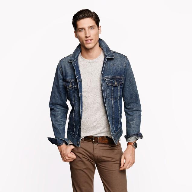 Denim jacket in medium worn wash