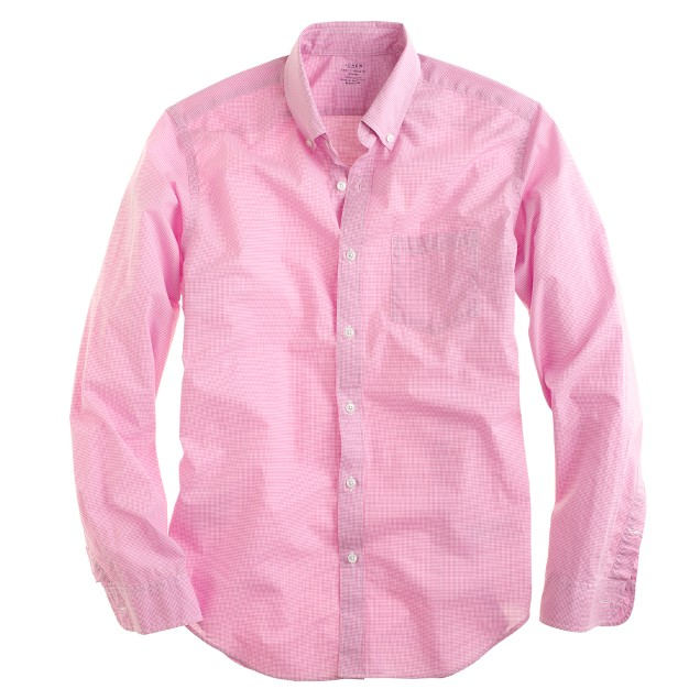 Secret Wash shirt in pink microgingham