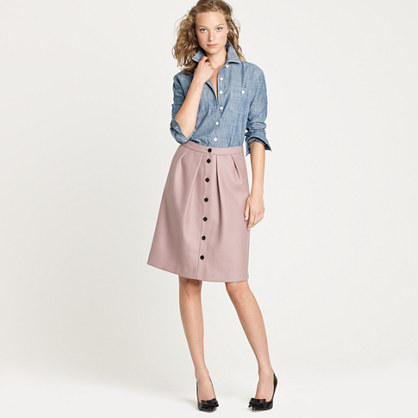Petite flair skirt in double-serge wool