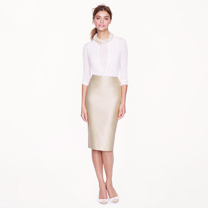 Collection lustre twill pencil skirt