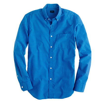 Secret Wash shirt in pagoda blue check