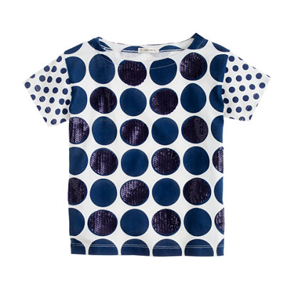 Girls' double-dot sequin tee