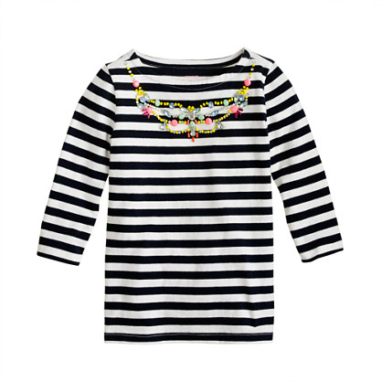 Girls' stripe necklace tee