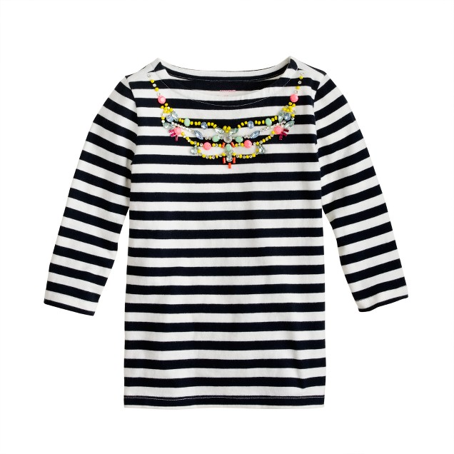Girls' stripe necklace tee