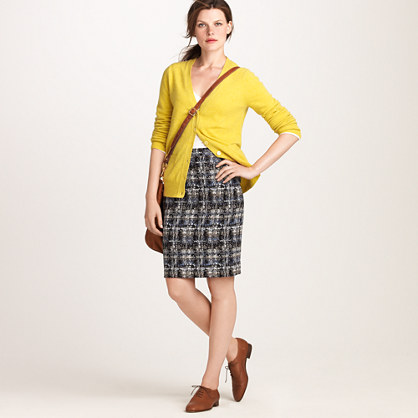 No. 2 pencil skirt in gilded tweed