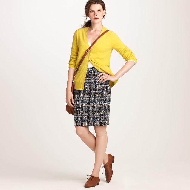 No. 2 pencil skirt in gilded tweed