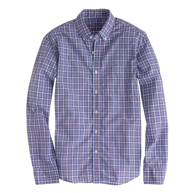 Slim Secret Wash shirt in burnished purple plaid