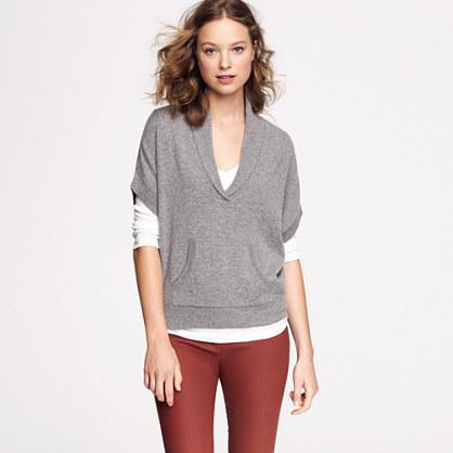 Cashmere shawl-collar poncho