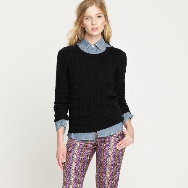 Cambridge cable zip crewneck sweater