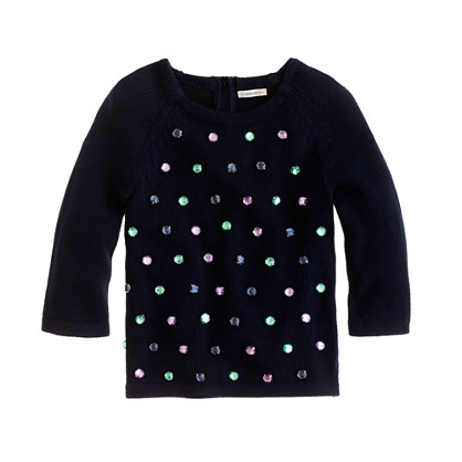 Girls' bejeweled sweater