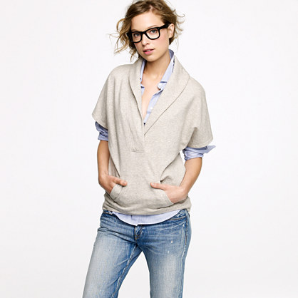 Shawl-collar poncho sweatshirt