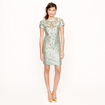 Collection jeweled gilded brocade dress